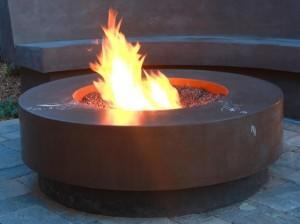 4' concrete sunset fire pit