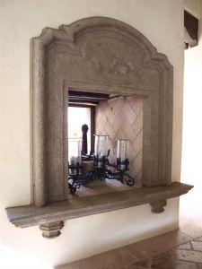 Concrete fireplace with shelf