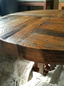 Closeup of custom made wooden table